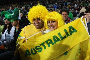 AUCKLAND, NEW ZEALAND - SEPTEMBER 17: Wallabies fans soak up the atmosphere during the IRB 2011 Rugby World Cup Pool C match between Australia and Ireland at Eden Park on September 17, 2011 in Auckland, New Zealand.  (Photo by Sandra Mu/Getty Images)