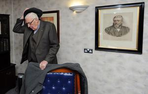 27/1/12 PACEMAKER BELFAST.  The Rev. Ian Paisley hangs up his hat and coat as he arrives for the Special Farewell Service in his honour after 65 years of Ministry at the Martyrs Memorial Church, on the Ravenhill Road, Belfast. Picture CHARLES MCQUILLAN/PACEMAKER