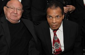 Muhammad Ali, right, celebrates his 70th birthday next to his longtime trainer Angelo Dundee, at a fund raiser for the Muhammad Ali Center in his hometown of Louisville, Ky., on Saturday, Jan. 14, 2012. Ali turns 70 today.