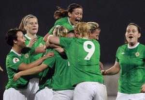 Northern Ireland's Kirsty McGuinness celebrates after scoring in the 3-1 win over Norway during Saturday night's Women's Uefa European qualifying game at Mourneview Park, Lurgan