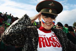 ROTORUA, NEW ZEALAND - SEPTEMBER 25: A Russia fan salutes prior to the IRB 2011 Rugby World Cup Pool C match between Ireland and Russia at Rotorua International Stadium on September 25, 2011 in Rotorua, New Zealand.  (Photo by Hagen Hopkins/Getty Images)