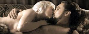 Emilia Clarke and Jason Mamoa in a steamy clinch during Game Of Thrones