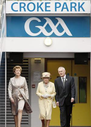 President of the Irish Republic Mary McAleese, Queen Elizabeth II and GAA President Christy Cooney at Croke Park, Dublin, during the second day of her State Visit to Ireland.
