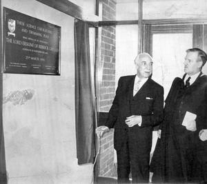 The Governor, Lord Erskine, opening the new Science block at Methody, 1966.