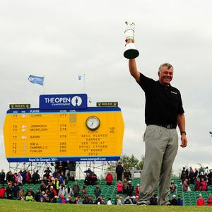 Darren Clarke holds the Claret Jug after winning the 2011 Open Championship at Royal St George's, Sandwich