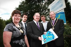 From left, Mayor of Castlereagh Councillor Vivienne McCoy, Kenny Elliott, Mike Collins NI Water, Sean Deal, Graham Construction, and Deputy Lord Mayor of Belfast Councillor William Humphrey