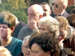 .An impromptu multi-denominational prayer services was held this afternoon at the cordon around Massareen Army Base in Antrim in memory of the murdered soldiers and the injured.