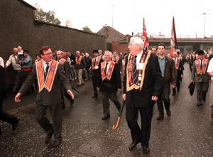 PACEMAKER BELFAST     Ian Paisley, David Trimble at the bottom of the Garvaghy road after the 1995 parade was allowed to pass down the road.4/3/08 The DUP leader has announced that he will step down as First Minister and and leader of the Democratic Unionist Party in May.
