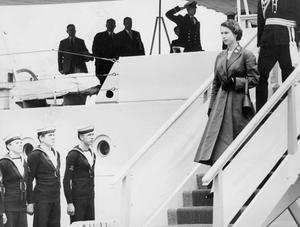 The Queen, Elizabeth 11. 1953. Coronation Year visit.After sailing up the Foyle from Lisahally, the Queen disembarked at Derry.  3/7/1953