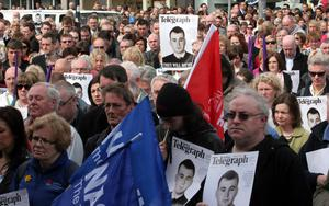 The peace rally held at the City Hall in Belfast in response to the murder of Constable Ronan Kerr