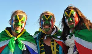 AUCKLAND, NEW ZEALAND - SEPTEMBER 30:  South African fans show their support before the IRB 2011 Rugby World Cup Pool D match between South Africa and Samoa at North Harbour Stadium on September 30, 2011 in Auckland, New Zealand. (Photo by Duif du Toit/Gallo Images/Getty Images)