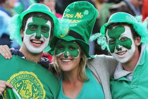 ROTORUA, NEW ZEALAND - SEPTEMBER 25:  Ireland fans pose prior to the IRB 2011 Rugby World Cup Pool C match between Ireland and Russia at Rotorua International Stadium on September 25, 2011 in Rotorua, New Zealand.  (Photo by Hagen Hopkins/Getty Images)