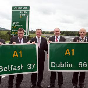 The opening of a high-speed road link between Belfast and Dublin has been hailed as a boost to Ireland