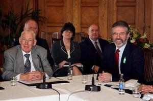 Democratic Unionist Party leader The Reverend Ian Paisley (left) and Sinn Fein President Gerry Adams speak to the media during a press conference at the Stormont Assembly building in Belfast. PRESS ASSOCIATION Photo. Picture date: Monday March 26, 2007. Rev Paisley and Mr Adams are to hold their first-ever face-to-face talks in a last-ditch bid to rescue devolution in Northern Ireland.