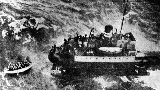 A lifeboat pulls away from the stricken Princess Victoria