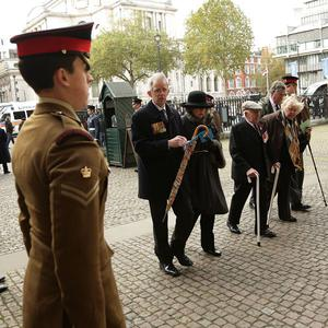 Veterans arrive for a service to mark the 70th anniversary of the Battle of El Alamein, at Westminster Abbey