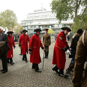Chelsea Pensioners arrive for a service to mark the 70th anniversary of the Battle of El Alamein