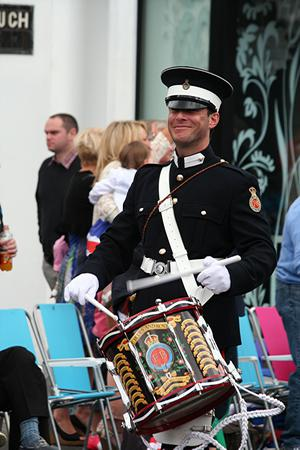 Side-drummer with Blues and Royals Flute Band. Submitted by James Patterson
