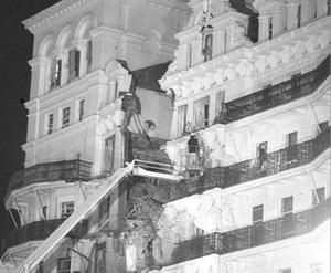 12/10/84 A fireman on an extended ladder on an upper floor of the Grand Hotel, Brighton, after a bomb explosion during the Conservative Party conference.