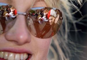 Ulster fans Simon Andrew and Stuart Crozier through the glasses of Rachel Craig from Londonderry