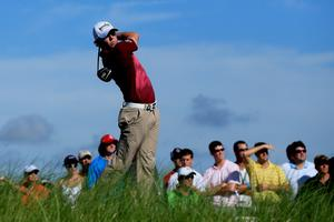 KIAWAH ISLAND, SC - AUGUST 09:  Rory McIlroy of Northern Ireland hits off the 15th tee during Round One of the 94th PGA Championship at the Ocean Course on August 9, 2012 in Kiawah Island, South Carolina.  (Photo by David Cannon/Getty Images)
