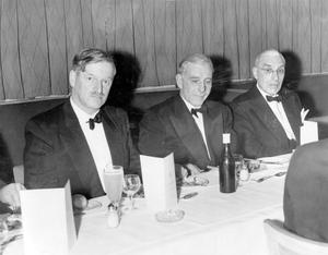 Methodist College Belfast- Old Boys Association dinner at the Royal Overseas League, London. Left to right: Mr. A. S. Worrell, Mr. G. S. Barry, President and W.N. Robb, 1962
