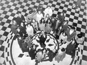 A party of 22 school children from Germany at present on a two week exchange course at Methodist College Belfast pictured when they toured the City Hall with Mr. Billy Johnston from the Lord Major's office, 1971.