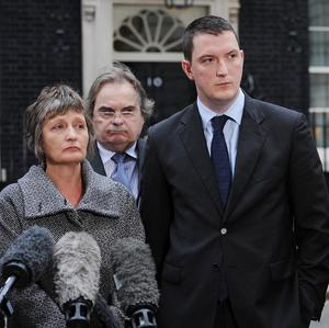 The family of murdered solicitor Pat Finucane, including his widow Geraldine, son John and daughter Katherine in Downing Street