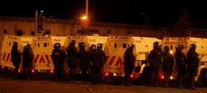 Pacemaker Press Belfast.Rioting Breaks out at Broadway roundabout between nationalist youths and the police.Photo; Pacemaker Press