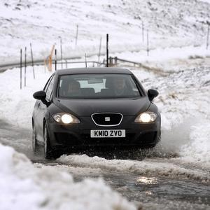 A car on the A93 near Glenshee as the road was closed due to the harsh weather