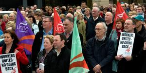 The scene at Derry's Guildhall Square during the vigil for peace