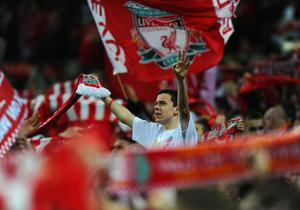 LONDON, ENGLAND - FEBRUARY 26:  Liverpool fans support their team during the Carling Cup Final match between Liverpool and Cardiff City at Wembley Stadium on February 26, 2012 in London, England.  (Photo by Mike Hewitt/Getty Images)