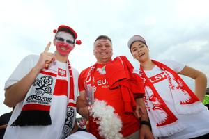 WROCLAW, POLAND - JUNE 12: Poland fans ahead of the UEFA EURO 2012 group A match between Greece and Czech Republic at The Municipal Stadium on June 12, 2012 in Wroclaw, Poland.  (Photo by Christof Koepsel/Getty Images)