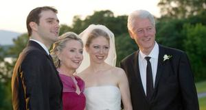 Marc Mezvinsky,left with his new mother-in-law Hillary Rodham Clinton, his bride Chelsea and father-in-law former President Bill Clinton after the couples wedding Saturday July 31, 2010 in Rhinebeck,N.Y.