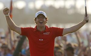 Rory McIlroy of Northern Ireland reacts to his victory after a birdie putt on the 18th green during the final round of the PGA Championship golf tournament on the Ocean Course of the Kiawah Island Golf Resort in Kiawah Island, S.C., Sunday, Aug. 12, 2012. (AP Photo/Evan Vucci)