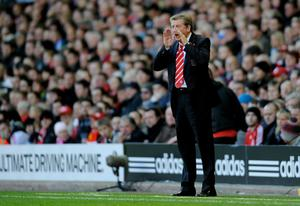 LIVERPOOL, ENGLAND - OCTOBER 24:   Liverpool Manager Roy Hodgson shouts instructions during the Barclays Premier League match between Liverpool and Blackburn Rovers at Anfield on October 24, 2010 in Liverpool, England. (Photo by Michael Regan/Getty Images)