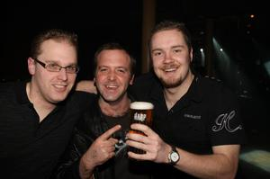 David Hart from Templepatrick, Richard Price from Lisburn and Robert Mann from Ballymena at the Harp Ice Cold Big Gig in the Spring and Airbrake on 26th February