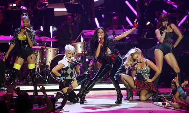 The Pussycat Dolls perform on stage during the Conde Nast Media Group's Fifth Annual Fashion Rocks at Radio City Music Hall on September 5, 2008 in New York City. The girls are due to play Belfast's Kings Hall on 3rd Feb 09.