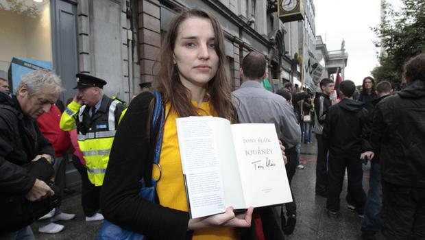 Kate O'Sullivan from Cork who attempted to make a citizens arrest on former Prime Minister Tony Blair as he signed copies of his autobiography in Dublin this morning