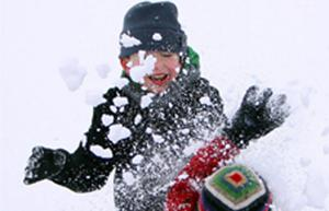 Daniel Egerton and his brother James from Bingham enjoy playing in the snow