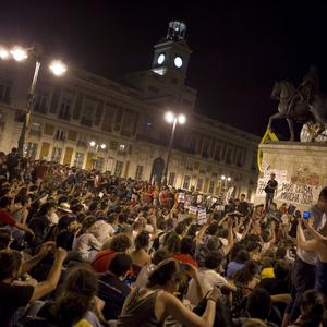 Thousands of demonstrators gather for an assembly after a protest at Puerta del Sol plaza in Madrid, Spain (AP/Alberto Di Lolli)