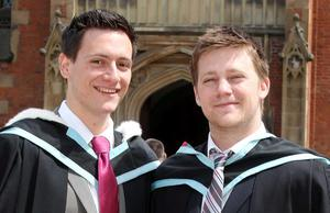 Graduations at Queen's University Belfast.  Left to right.  Brothers Jon and Adam Bartholomew from Loughgall who both graduated with MParm in Pharmacy.