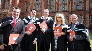 Graduations at Queen's University Belfast.  Left to right.  Daniel Hendry from Bangor, Chris Hopkins from Ballycare, Paul McAdam from Aghalee, Laura O'Neill from Belfast and Stephen Muckle from Glengormley who graduated with a BA Hons in History.
