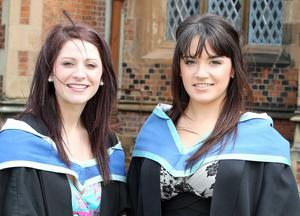 Graduations at Queen's University Belfast.  Left to right.  Nicole Spence from Lisburn and Sinead McErlane from Crossgar who graduated with a BMus Music.