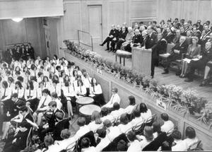 Centenery Prize Day. The Prime Minister Captain Terence O'Neill addresses a capacity crowd in the Sir William Whitla Hall, Queen's University when he presentes the awards at the Methodist College Centenery Prize Day there, 1968.