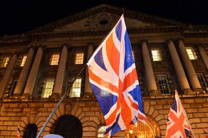 Loyalist protestors pictured at Belfast City Hall