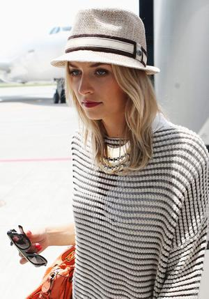 L'VIV, UKRAINE - JUNE 09:  Lena Gercke, girlfriend of Sami Khedira is seen at the airport  Lviv on June 9, 2012 in L'viv, Ukraine.  (Photo by Joern Pollex/Getty Images)