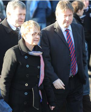 Margaret Ritchie and Basil McCrea arrive for Michaela McAreavey's funeral