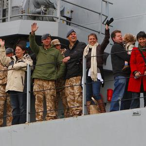 Some stranded holiday makers got home on HMS Albion, along with soldiers who had been in Afghanistan.