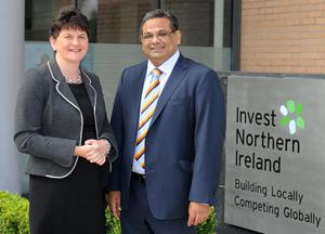 Hanif Lalani OBE with Arlene Foster as he prepares to take on his new role